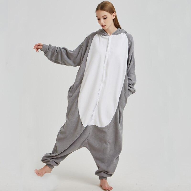 Fancy Grey Wolf Kigurumi Pajama Animal Adult Onesies For Women Pyjamas One-Piece Sleepwear Pyjamas Halloween Christmas Party (4)