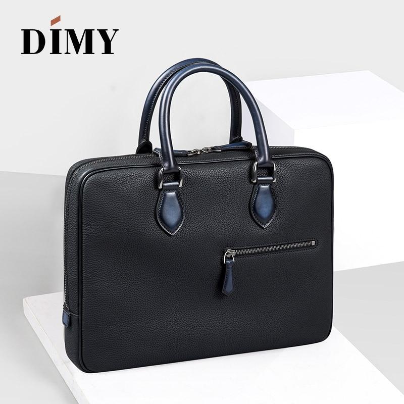 Handmade Vintage Togo Genuine Venezia Leather Briefcase Laptop Messenger Bag Portfolio Attache Business Case Man Patina Handbag