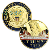 Trump 2020 Presidential Challenge Coin Reelection Slogan KEEP AMERICA GREAT ! Gold Plated Commemorative Coins Drop Shipping 40mm america president donald trump commemorative coin gold plated colorful metal coin with plastic case