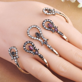 Hot Selling Vintage Women Rings Four Fingers Hand Accessories Antique Gold Lily Flowers Turkish Jewelry Party Ring Metal Anel bracelet