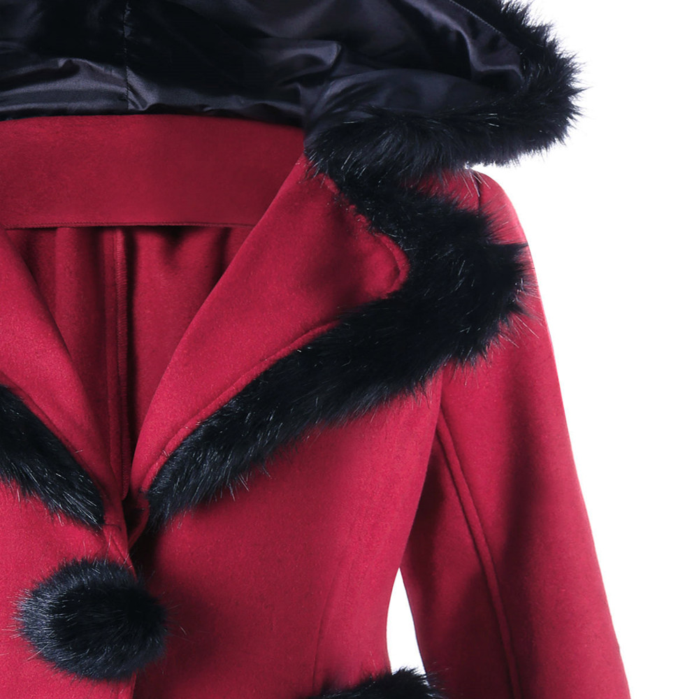 Manteaux À Gothique Red Hiver Laine Capuche ligne De Wipalo Longues Manches Fourrure Noël Pardessus Outwear Manteau A Veste Faux Femmes Mélanges Rouge gdYdxn81Z