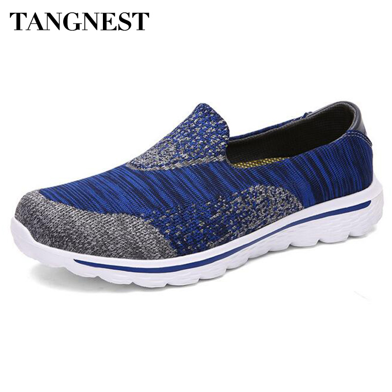 Tangnest Men Shoes For 2017 Summer Men Platform Flats Casual Knitted Lightweight Shoes For Lovers Mixed Color Shoes Man XMR2544