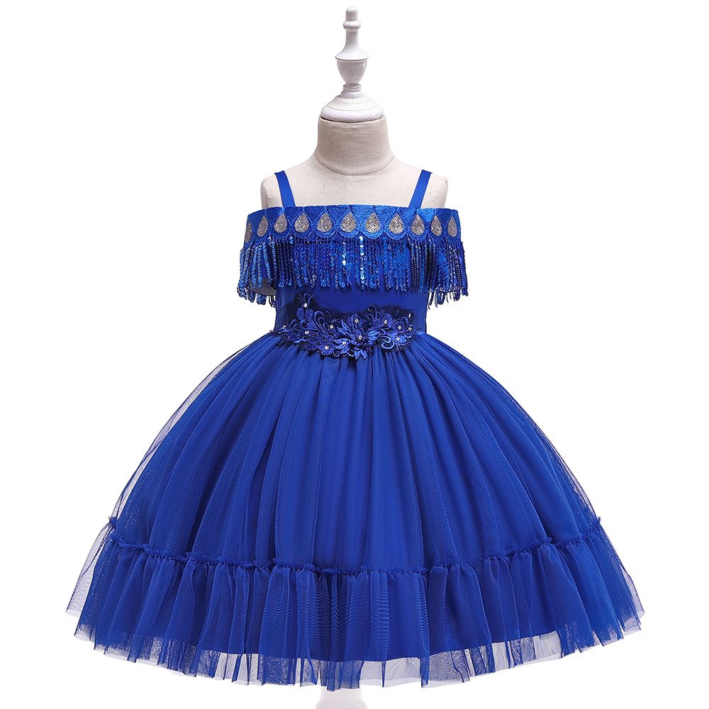 Royal Blue Spaghetti Blue First Communion   Dresses   Ballgown Little   Girls   for Evening Party Gowns with Sequins