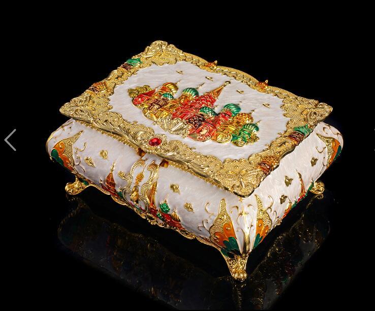 Boîte à bijoux en métal grand modèle européen en relief boîte de rangement boîte à bijoux organisateur de bijoux pour fille boîte-cadeau Z031