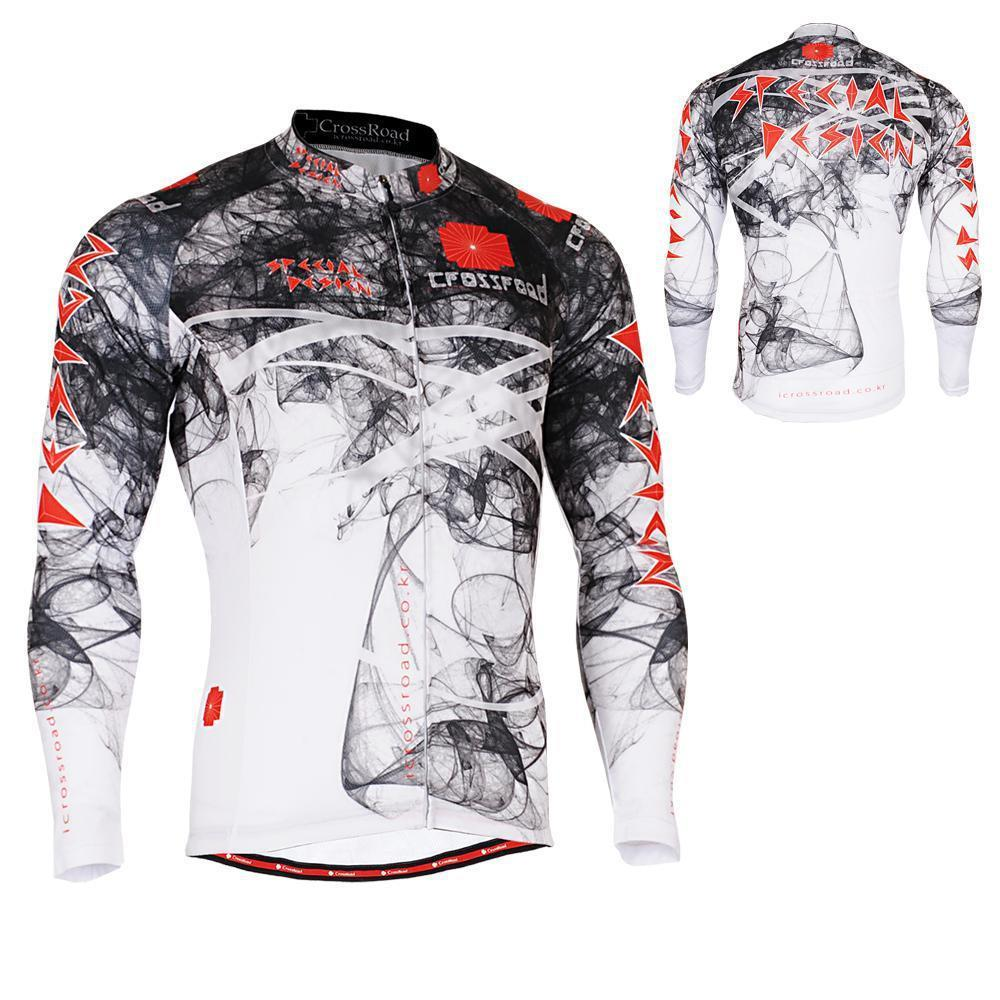 Men s Long Sleeve Cycling Jersey W Useful 3 Rear pockets Non Slip Silicone Band Outdoor
