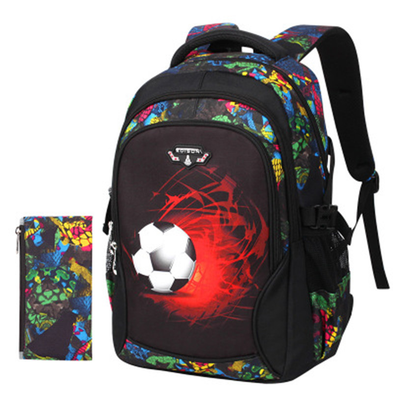 Backpacks For Little Boys Printing Red Soccers School Bags For Kids Cool Lightweight Backpack For Children Traveling Bookbags