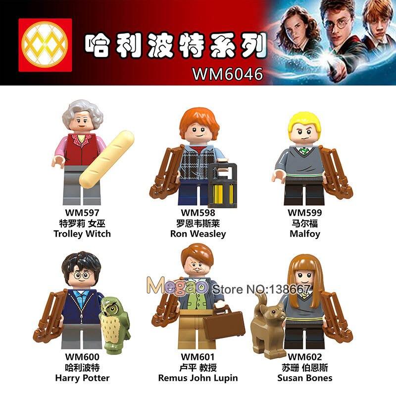 40 Pz/lotto Legoing Figure Trolley Strega Ron Weasley Malfoy Lupin Susan Ossa Hagrid Legoing Amici Blocchi Di Costruzione Del Giocattolo Del Regalo Lieve E Dolce