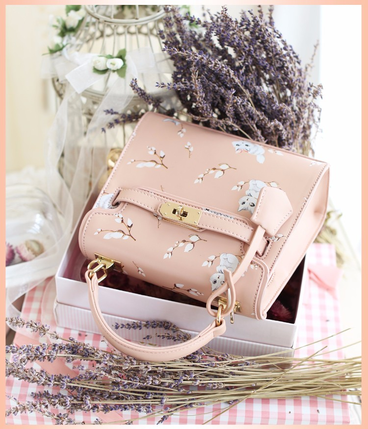 x6 New Sale Bolsas Mujer Small Peekaboo Saddle Faux Leather PU Pink Cat Floral Women\'s Handbags For Lady  Messenger Bags Totes
