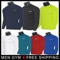 Los hombres de manga larga Camisetas de cuello camisa de compresión de fitness hombres Quicky Seca ropa Tight Slim fit