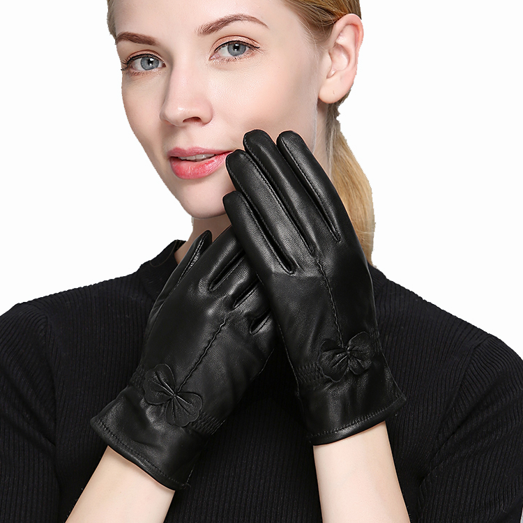 2019 Women's Genuine Leather Gloves  Sheepskin Gloves  Fashion Female Windproof Gloves Autumn And Winter Mittnes