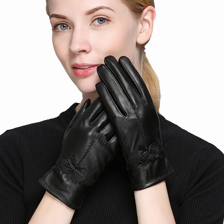 2020  Women's Genuine Leather Gloves  Sheepskin Gloves  Fashion Female Windproof Gloves Autumn And Winter Mittnes