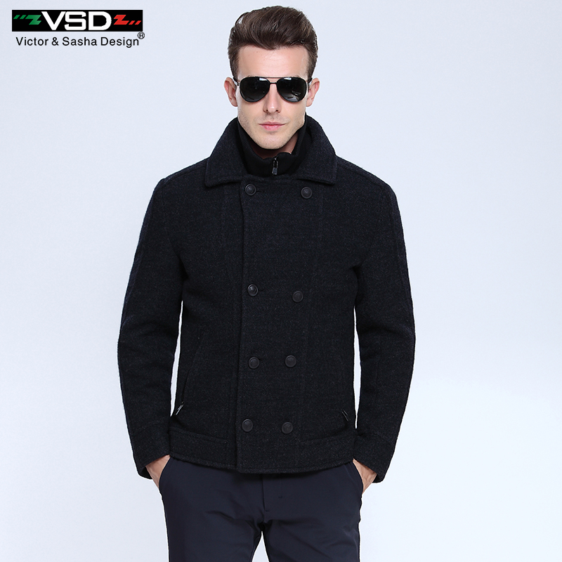 Winter Business Woolen Double Breasted Cotton Patted Overcoat Coat Outwear Placket  Detachable Sobretudo Palto Casual Jacket Men hoodie