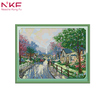 NKF new cross stitch kit The streets after the rain 14needlework DMC 11/14 CT DIY  handmade embroidery Kit for home decor& gift все цены