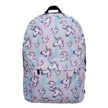 Qokr женщин 3D печати Единорог Рюкзак Softback Сумка Mochila школа Cat сумка для ноутбука для девочек Фрукты животных Печать Рюкзаки