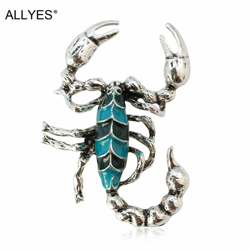 ALLYES Kalajengking Biru dan Hitam Warna Enamel Pin Bros Perhiasan Perak Logam Kristal Pakaian Setelan Besar Serangga Bros Untuk Wanita
