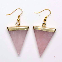 Trendy-beads Light Yellow Gold Color Triangle Shape Natural Rose Pink Quartz Earrings For Women Jewelry