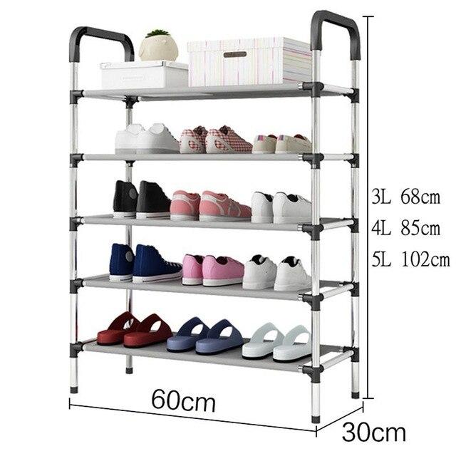 Prateleira para sapatos, prateleira para montar sapatos de 3/4/5 camadas, organizador de armário para casa, sala de estar, mobília
