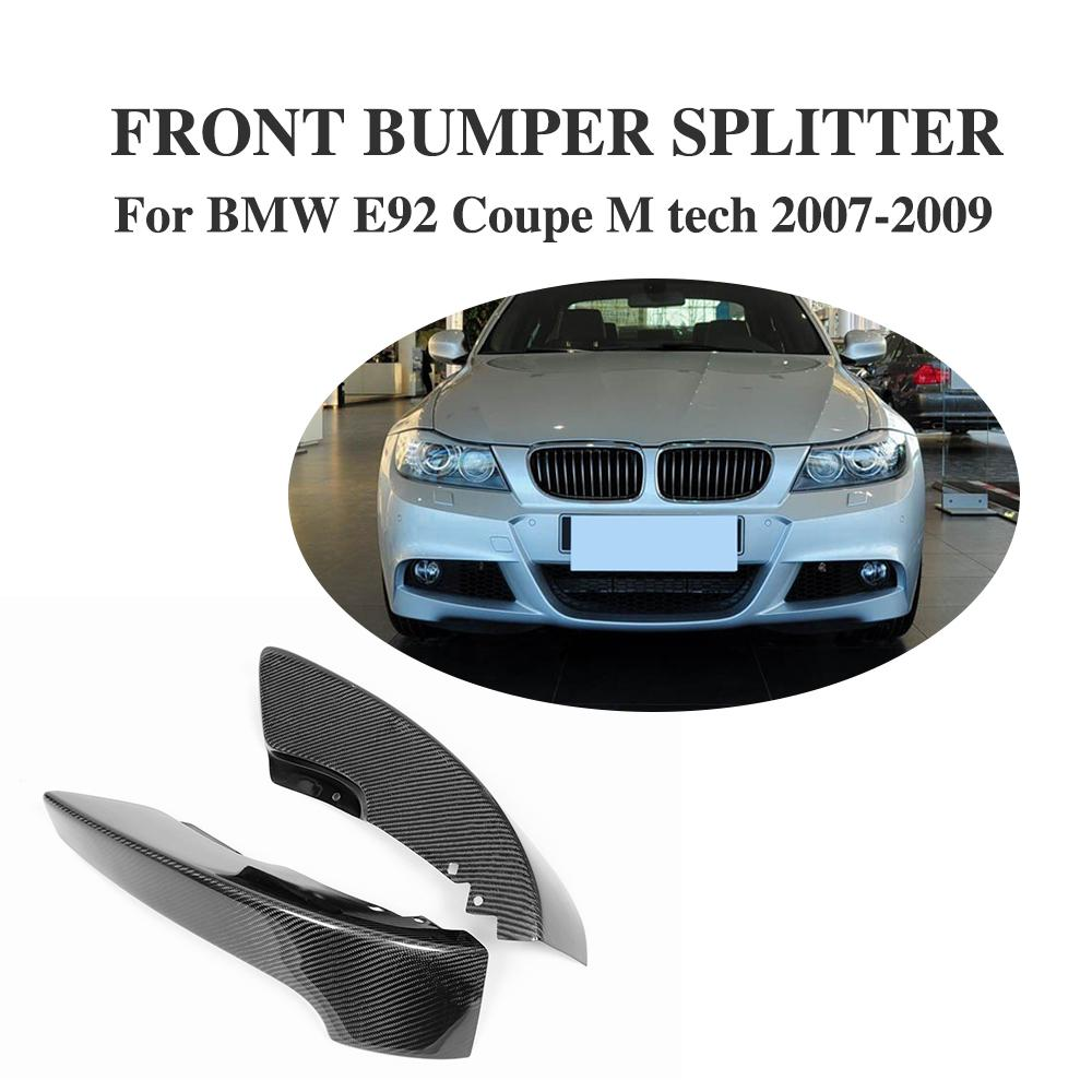 1Pair Carbon Fiber Front Bumper Lip Splitters Aprons Spoiler For BMW 3 Series E92 Coupe M-Sport 2007-2009 Car Styling olotdi carbon fiber front lip spoiler gts style front bumper for bmw e92 e93 m3 bumper car styling accessories factory