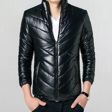 Новых Людей Зимняя Куртка Мода Полосой Дизайн Вскользь Вскользь Теплый Хлопок Пуховик Плюс Размер 3XL Зимнее Пальто Человек