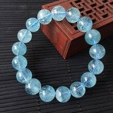 Beadztalk  AA Good Quality Natural Aquamarin Beads Bracelet Elastic Crystal Jewelry No Glass No Synthetic 100% Natural Crystal natural 100