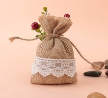 free shipping 50 pcs / lot  Natural Jute Bags White Lace Jute Bag Gift Sweets Bags with  4