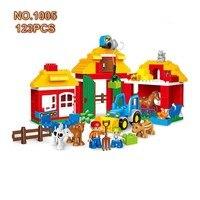 123PCS Duplo Animals Farm Figure Base Plate Compatible Legod Duplo Building Blocks Educational Toy Assemble Bricks Toys For Kids