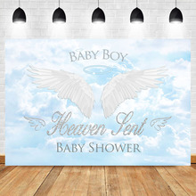 NeoBack Angel Boy Baby Shower Photo Backdrop Heaven Blue Sky White Clouds Sngel Wings Background for Shoots
