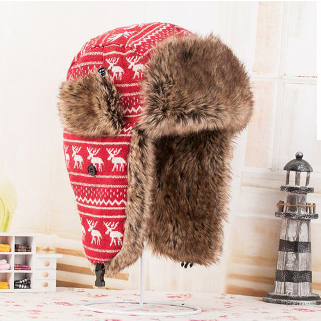 Women Men Bomber Hats Unisex Cute Deer Padded Earmuffs Warm Lei Feng Hat Fashion Hot Sale Autumn And Winter New High Quality