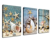 3 Piece Wall Art Canvas Picture Starfish Shell Fishing Net Stone on Beach Sands Contemporary Painting Drop shipping