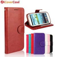 Crazy Horse PU Wallet Leather Phone Case For Samsung Galaxy S3 I9300 With TPU Cover Inside