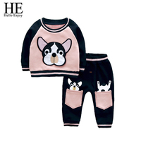 Newborn Clothes Winter 2017 Fashion Baby Girls Clothing Sets Thick Animal Spotted Dog Long Sleeve Sweatshirts