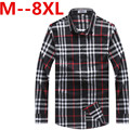 8XL 6XL 5XL 2016 New Autumn Fashion Brand Men Clothes Slim Fit Men Long Sleeve Shirt Men Plaid Cotton Casual Men Shirt Social