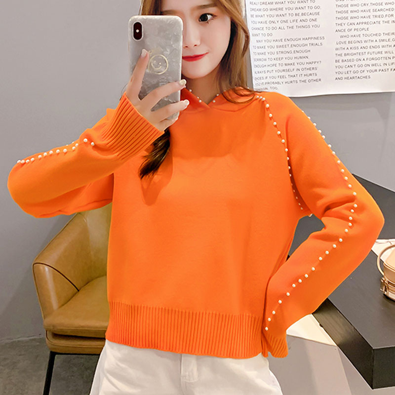 2019 Autumn/winter Women Sweaters Computer Knitted Casual Hooded Pullovers Beading Solid Women Sweaters and Pullovers 5194 50 26