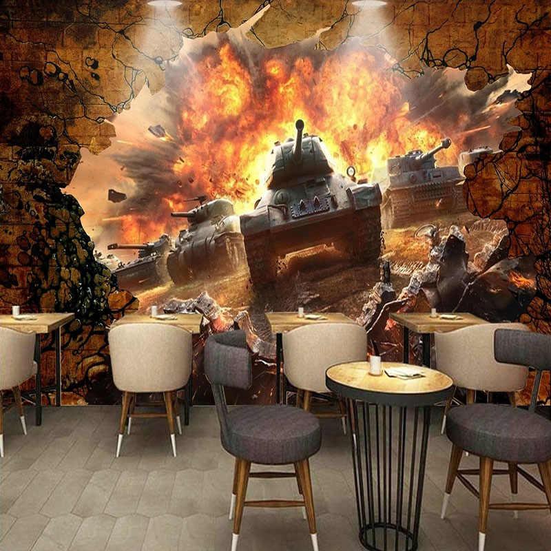 Papel pintado Mural personalizado 3D estéreo tanque roto pared Battlefront foto pared papel para niños dormitorio restaurante personalidad papel tapiz