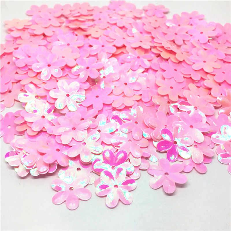 100pcs 15mm Pastels Holographicเงาดอกไม้สัตว์เลี้ยงเลื่อมConfetti EmbellishmentsสำหรับDIYกระเป๋าโทรศัพท์ตกแต่ง