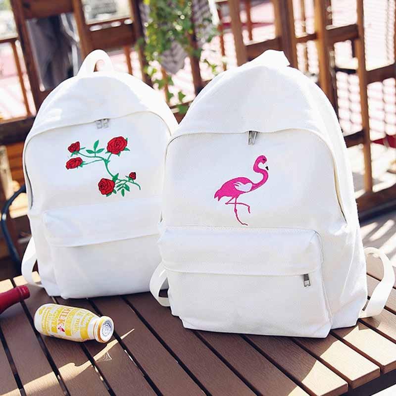2018 ladies canvas backpack cute ladies rose embroidery teen backpack men ladies travel bags school bags Mochilas men heart canvas backpack cute women rose embroidery backpacks for teenagers women s travel bags mochilas rucksack school bags