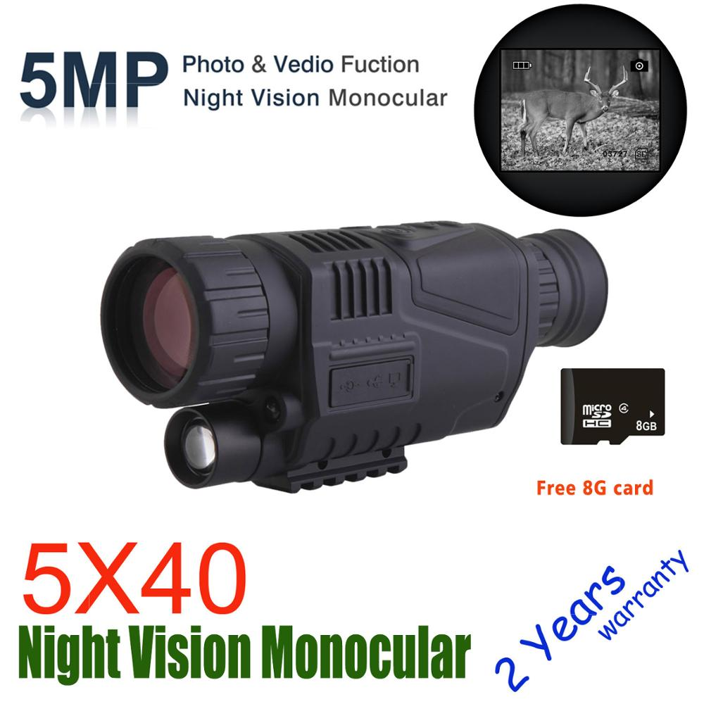 Wildgameplus 5X40 Digital Night Vision Monocular with 8G TF card Night Vision Hunting Scope Night Vision
