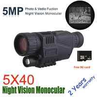 Wildgameplus 5X40 monoculaire de Vision nocturne numérique avec carte TF 8G Vision nocturne portée de chasse optique de Vision nocturne portée de chasseur