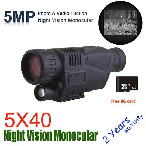Monocular com 8g Wildgameplus 5×40 Noite Digital Vision tf Night Vision Âmbito Caça Visão Noturna Óptica Âmbito Caçador