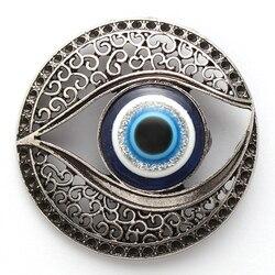 1 adet Alaşım Göz Takılar Mıknatıslar Içi Boş Nazar Takı Mavi Nazar Çıkartmalar Manyetik Kolye DIY El Yapımı Takı 43mm