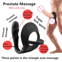 NEW Prostate massage anal plug with cock rings silicone dildo anal beads sex pro