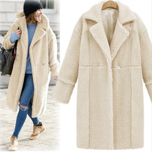 Autumn Winter Loose Long Lamb Coats Outerwear Women Turn-down Collar Sleeve Wools Blends