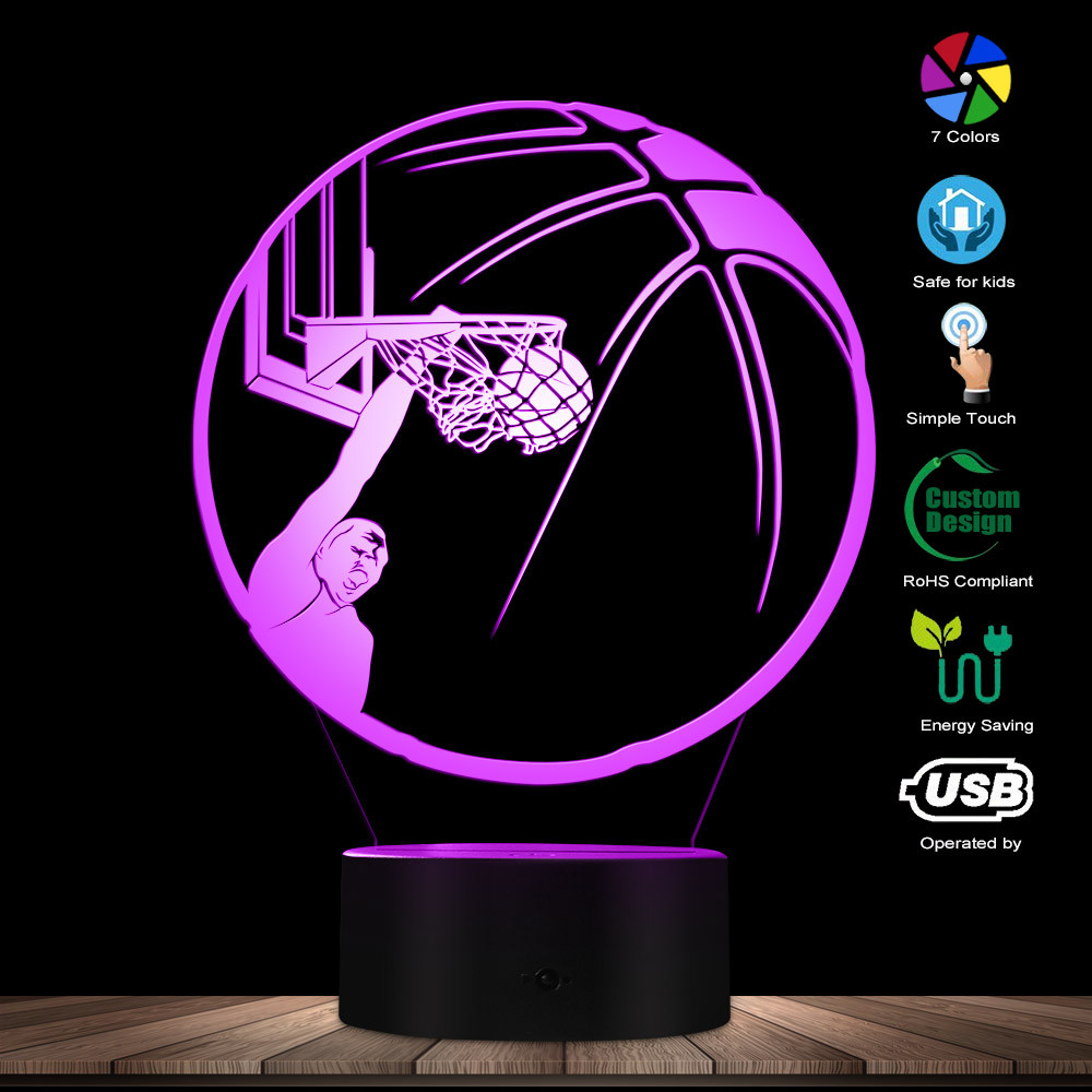 Basketball Player Dunking Ball LED Lights One Handed Jam Play Basketball Basketball Dunk 3D Optical Illusion Night Table Lamp