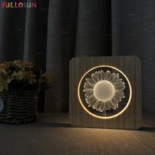 Creative LED Wooden Night Light Sunflower USB 3D Illusion Lamp for Baby Room Decorative Novelty Lighting