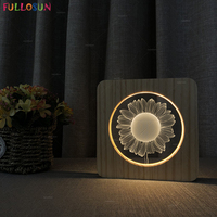 Creative LED Wooden Night Light Sunflower USB 3D Illusion Night Lamp for Baby Room Decorative Novelty Lighting