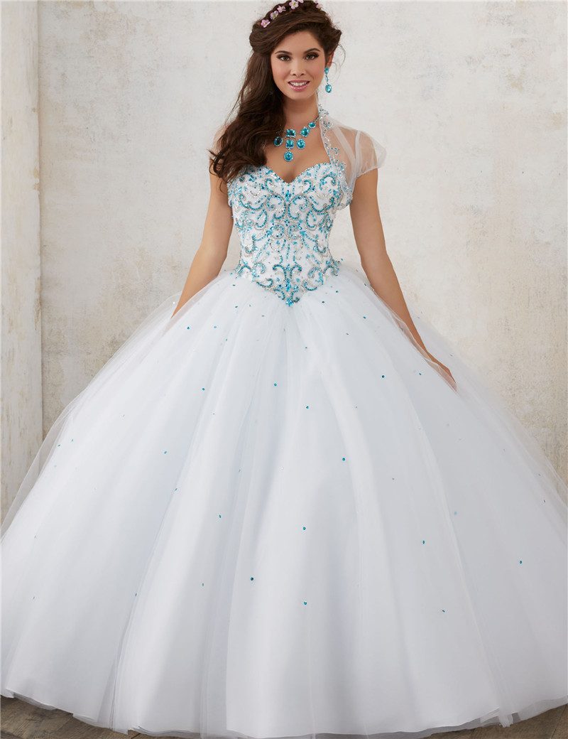 Dresses Quinceanera-Gowns Sweet 16 Ball-Gown Princess Debutante 15-Years White For Bling