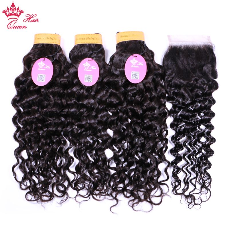 Queen Hair Products Indian Water Wave Hair Bundles With Closure 100% Human Hair Bundles With Closure 4x4 Free Part Remy Hair
