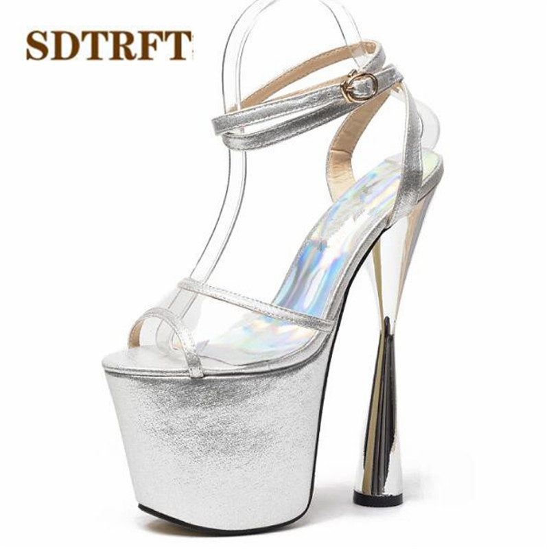 SDTRFT SUMMER Open Toe Stilettos zapatos mujer 20cm thin heels platform sandals Ankle strap shoes woman wedding pumps Plus:34-43 cdts plus 35 45 46 2016 spring summer 20cm ladies open toe ruffles thin high heels platform party pumps woman wedding shoes
