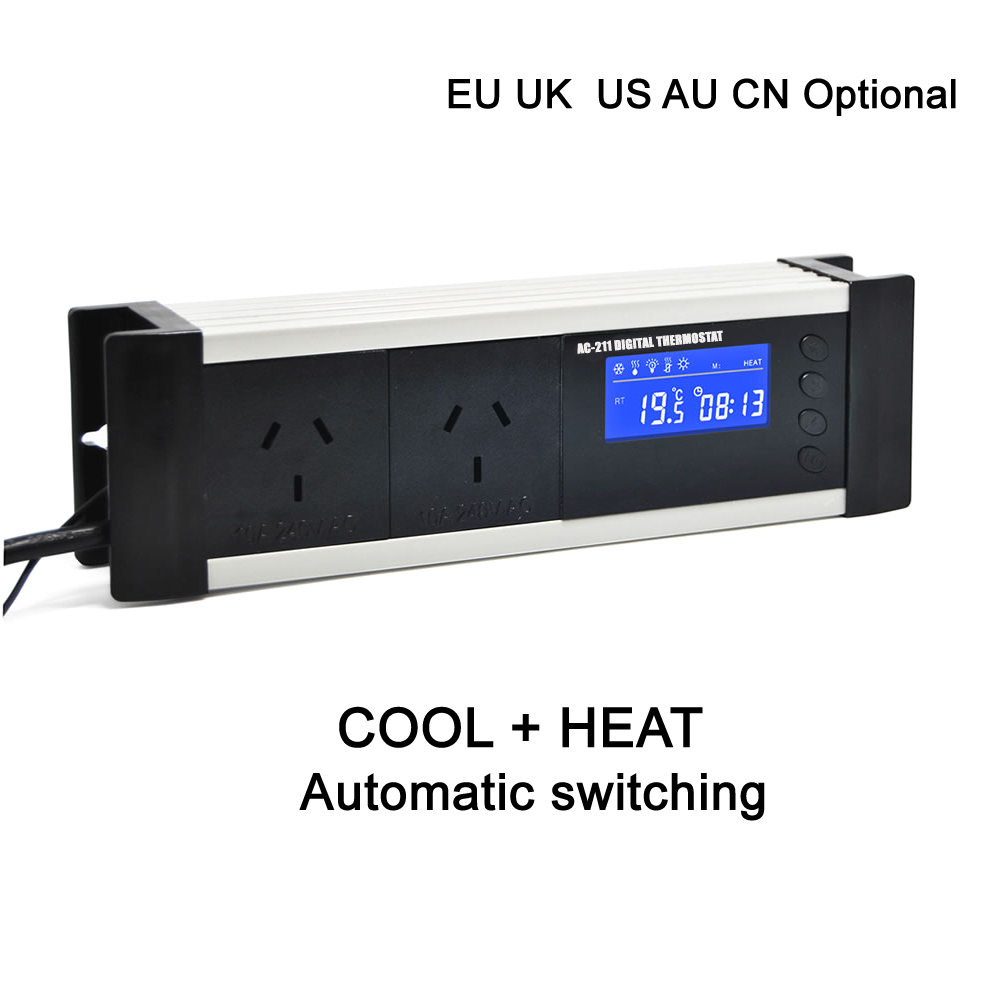 EU UK AU CN plug 2 relais sortie serre aquarium numérique thermostat contrôleur réfrigération chauffage pour capteur étanche