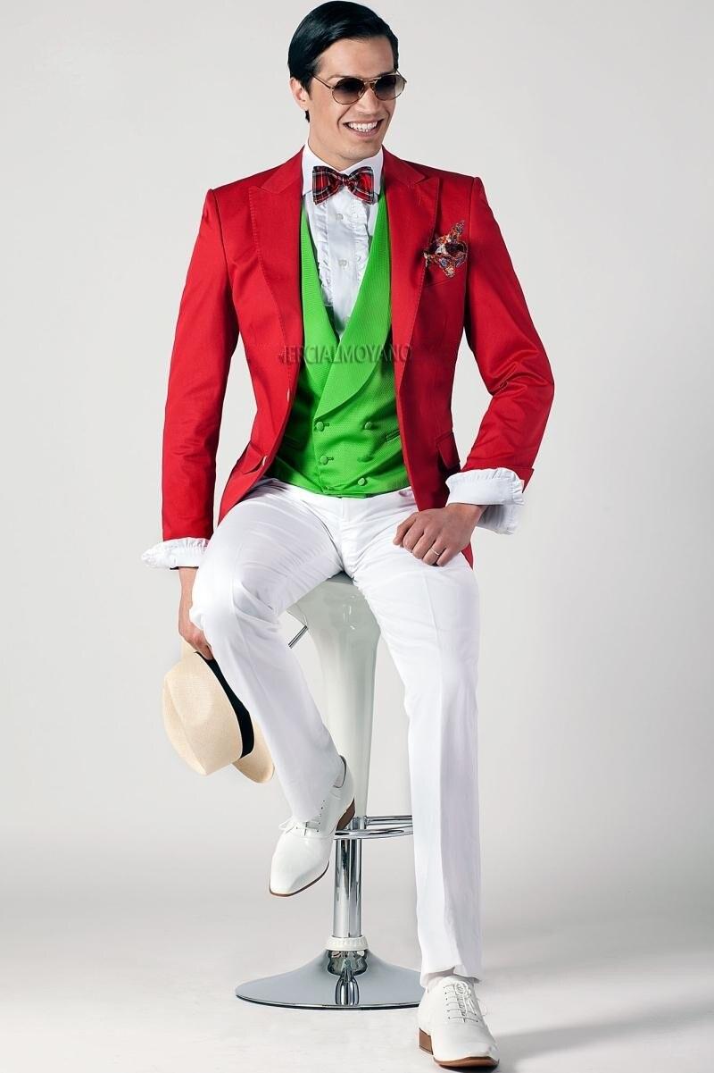 Deux Bouton Rouge Veste Pantalon Blanc Smokings de Marié de Garçons D'honneur Hommes Costumes De Mariage de Bal Sur Mesure (Veste + Pantalon + gilet + Cravate) K: 476